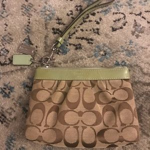 Green & Brown Coach Signature Wristlet Like New